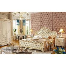 Pearl White Color Estilo Neoclássico Solidwood Leather Bedroom Set (HF-MG806)