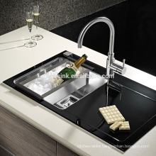 Stainless Steel Glass Top Kitchen Sink with drainer, Stainless Steel Toughen Glass Tempered Glass Kitchen Sinks with drainboard