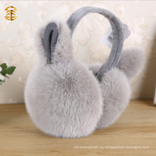 Cute Genuino conejo piel orejeras Muffs con los oídos
