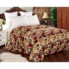 Cobertor do velo da flanela do projeto da flor para a matéria têxtil home