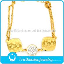 18 quilates de oro pulsera de fundición italiana encanto acero inoxidable cadenas pulseras placa redonda con diamante