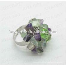 Envuelva los anillos con la piedra del chip de la fluorita