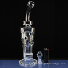 Honeycomb Neck Concentrate Rig Hookah Glass Smoking Water Pipes (ES-GB-304)
