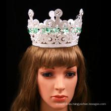 Corona completa de piedra clara de la tiara de la tiara grande para la boda