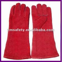 Gants de soudure en cuir fendu de vache rouge pour l'industrie fonctionnant ZMR104