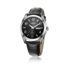 Acier inoxydable Luminous Leather Strap Men Business Watch