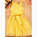 Filles nouvelle robe d'été jaune robe de princesse à la mode