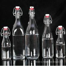 OEM Transparent Glass Milk Juice Beer Bottle with Stopper