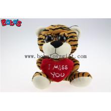 """5.9 """"Plüsch Tiger Big Eyes Spielzeug mit Herz Kissen für Valentinstag Bos1177"""