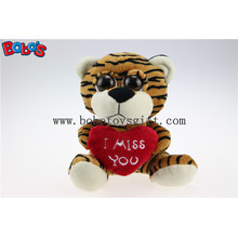 "5.9"" Plush Tiger Big Eyes Toy with Heart Pillow for Valentines Day Bos1177"