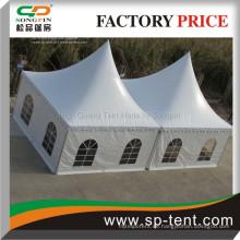 Double peaked white aluminium PVC 5mx10m pagode Marquee zum Verkauf kombiniert durch regenrinnen