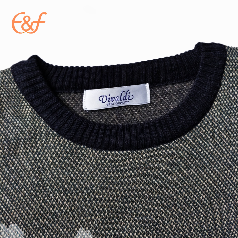 Round neck Jaquard patterns sweater