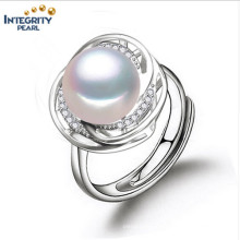 Pearl Ring Designs for Women 10-11mm AAA Bread Round European Ring Wedding Ring Pearl Ring