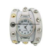 Ladies Leather Wrap Around Bracelet Watch