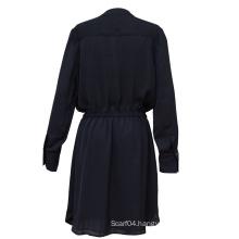 Women Dress Long Sleeves Pure Color Dress