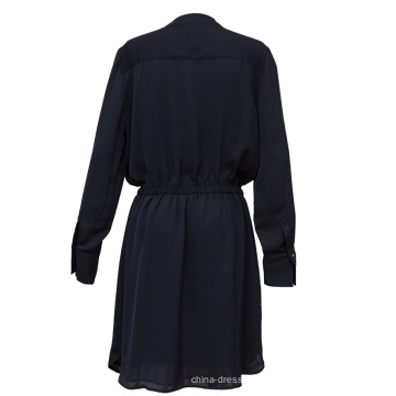 Vestido feminino de mangas compridas Pure Color