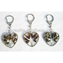 Chaveiro de pedra preciosa da forma do coração, keyrings pendentes de pedra preciosa, corrente chave de pedra