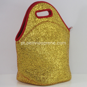 Lunch Bags isolados do neopreno com lantejoulas douradas