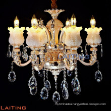2016 contemporary gold 6 zinc arms acrylic crystal candle chandelier 88645