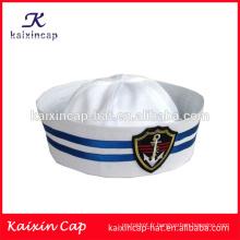 promotionnel en gros sur mesure vente chaude conception votre propre logo de haute qualité pas cher broderie logo marine capitaine chapeau