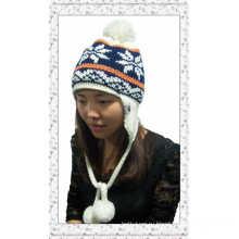 Новый зимний жаккард Lady Earflap Knitted Hat with Balls (1-3509)