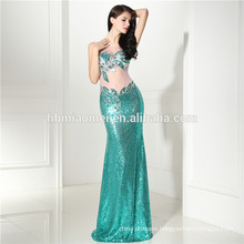 2017 Luxury Sequins Rhinestone Fish Cut Sexy Midriff-baring Cocktail See Through Back Dress Evening Dress