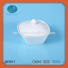 white ceramic square shaped jar with lid,porcelain jar for hotel usage