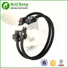 Mode Punk crânes Bracelet acier inoxydable noir Skulls boucle torsadées câble Wire Bracelets Bangles