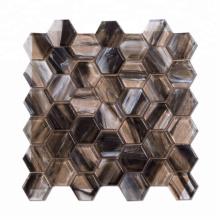 Popular Brown Hexagon Glass Mosaic for Wall