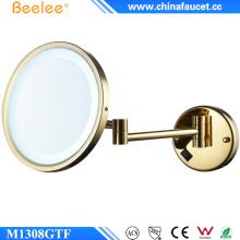 Montado en la pared LED maquillaje espejo de baño con 3 X de aumento