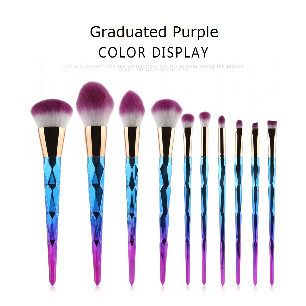 10 Pcs Diamond Rose Gold Makeup Brushes Sets 8