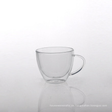 Borosilikat Doppelwand Glas Kaffeetasse mit Griff
