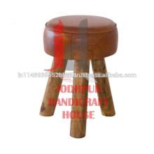 Taburete redondo de madera de cuero industrial