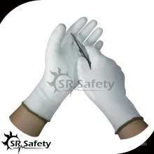 SRSAFETY Cut-resistant white working pu glove