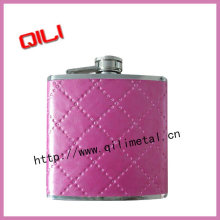 Stainless steel full leather wrapped hip flask