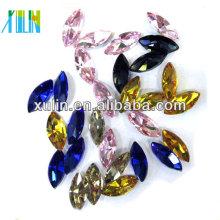 Hot sale Marquise forma colorida pedra preciosa lapidada vestuário de vestuário de vidro cristal decorado contas