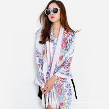 Moda flor impresso mulheres lenço de seda viscose (yky1150)