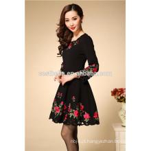 Outono Inverno Moda manga longa algodão vestido bordado fabricante de China vestidos