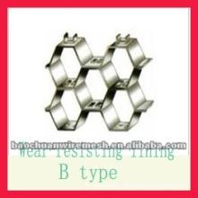 Rejilla hexagonal de plástico con forro resistente al desgaste