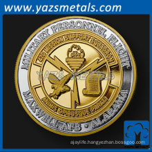 customizecoins, custom metal Alabama unit challenge coin in pure silver with gold plating