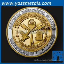 customizecoins, custom metal Alabama unidade desafio moeda em prata pura com chapeamento de ouro