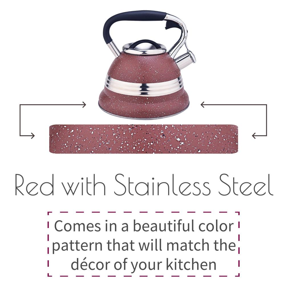 Red Stainless Steel Whistling Stovetop Teapot