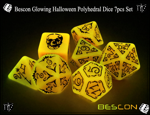 Bescon Glowing Halloween Polyhedral Dice 7pcs Set-8
