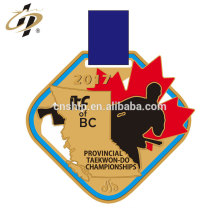 Hot sell design customize gold alloy cut taekwon-do medals with enamel