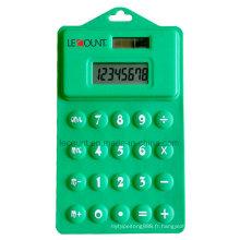 Calculateur souple pliable siliconé de 2 chiffres à 14 chiffres de 14,5 cm avec trou de suspension (LC514)