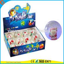 Diseño de la novedad Christmas'gift LED Rubber 75mm Santa Flashing Bouncy Ball