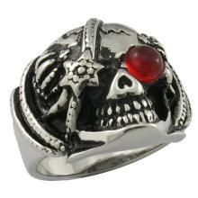 Fábrica de aço inoxidável jóias Crystal Knight Ring