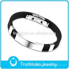 Mens en cuir bricolage bracelet vente chaude promotionnel en acier inoxydable étiquettes d'argent bracelet à breloques