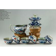 Tradicional Dragon & Phenix Set de Té - 1 Gaiwan, 1 Lanzador y 6 Copas