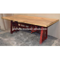 Antique Red Heavy Mechanic Crank Dining Table